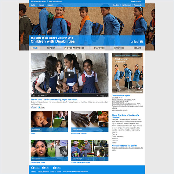 UNICEF State of the World's Children 2013 report website