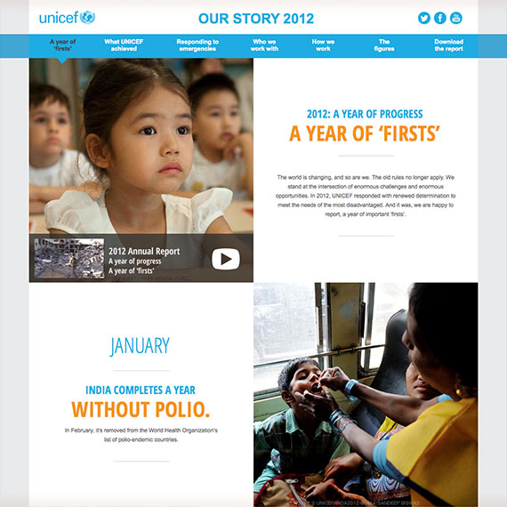 UNICEF Our Story 2012 Annual Report Website